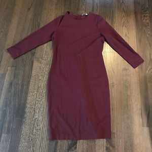 Vince Medium Burgundy Long Sleeve Dress EUC